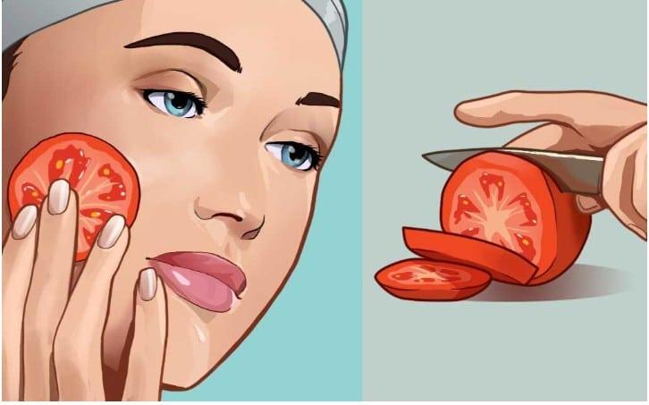 tomate no rosto